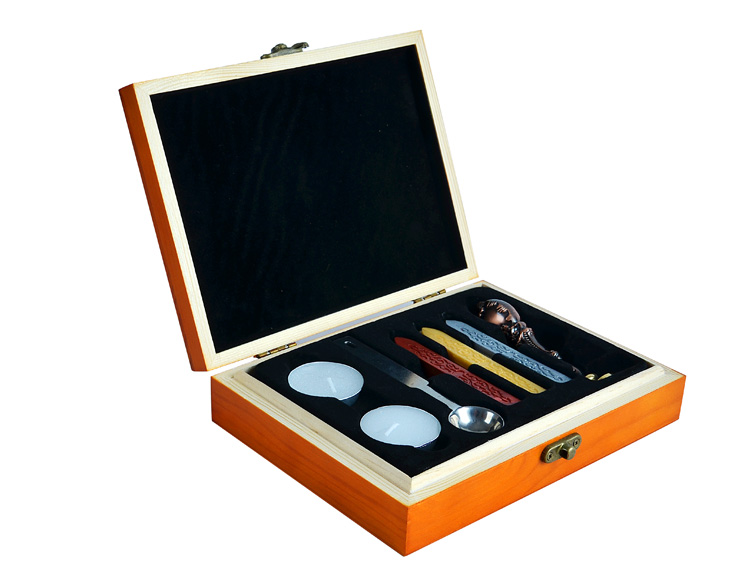 Wooden Box Custom Sealing Wax and Wax Seal Stamp Kits & Gift Set