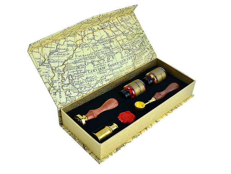 Luxurious Sealing Wax Bead Deluxe Kit with Custom Wax Seal Stamp
